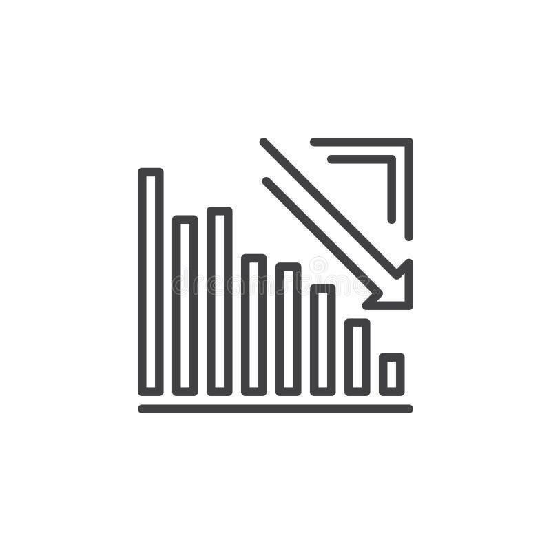 Pijlgrafiek die onderaan lijnpictogram gaan, overzichts vectorteken, lineair die pictogram op wit wordt geïsoleerd vector illustratie