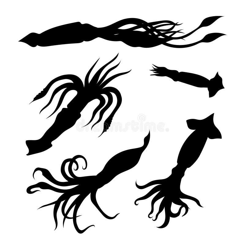 Pijlinktvis vastgestelde vector royalty-vrije illustratie