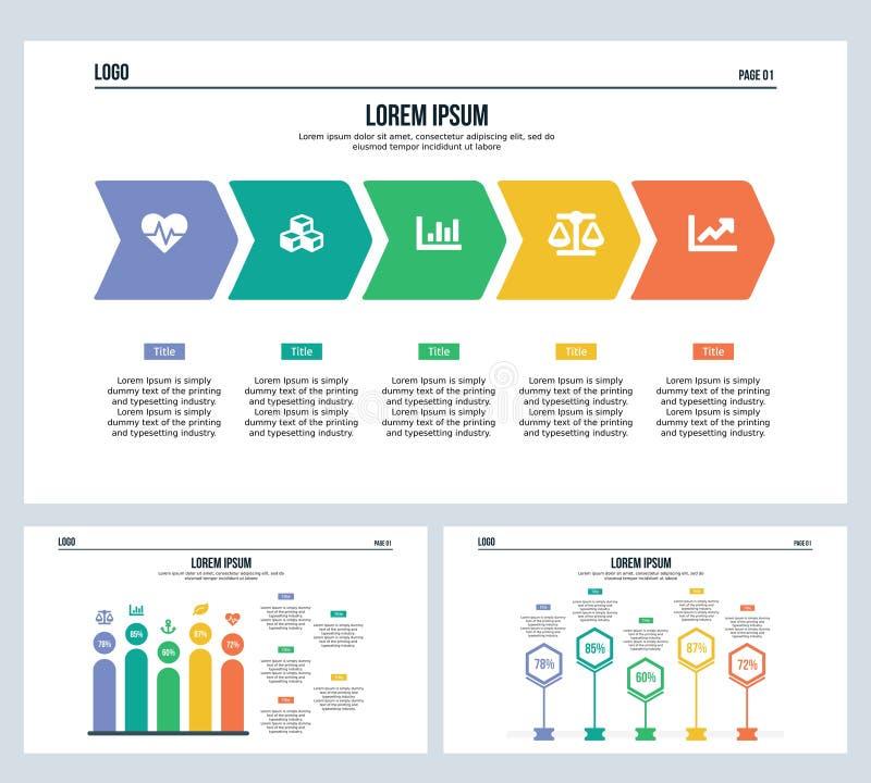 Pijlstap, mens, installatie, vastgesteld presentatiedia en Power Point-malplaatje royalty-vrije illustratie