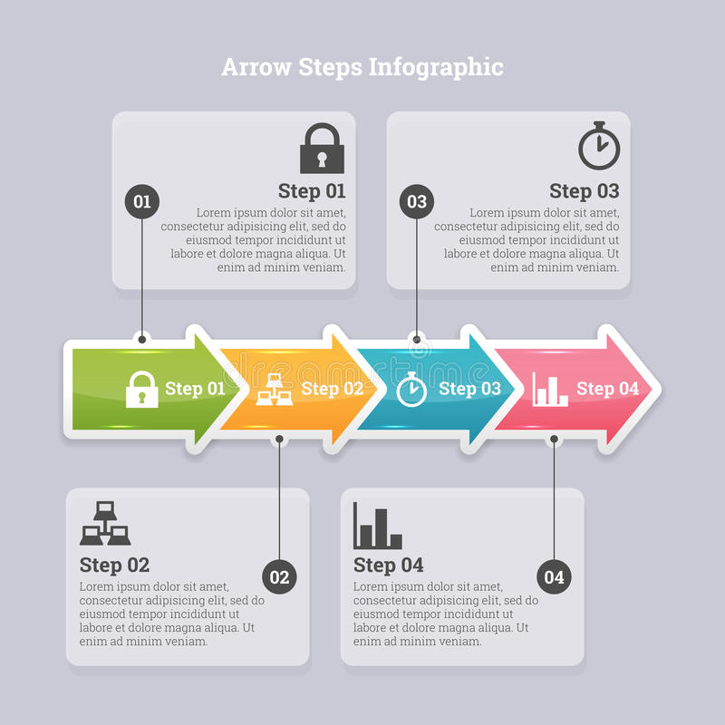 Pijlstappen Infographic royalty-vrije illustratie