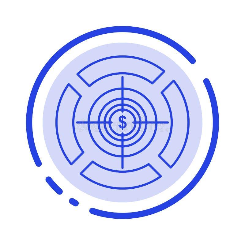 Pijltje, Nadruk, Doel, de Lijnpictogram van de Dollar Blauw Gestippelde Lijn stock illustratie