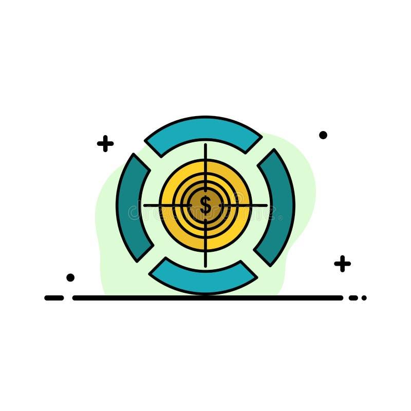 Pijltje, Nadruk, Doel, Malplaatje Dollar van de Bedrijfs het Vlakke Lijn Gevulde Pictogram Vectorbanner stock illustratie