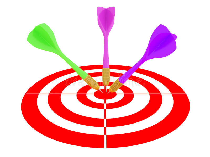 Pijltjes die in dartboard vallen stock illustratie
