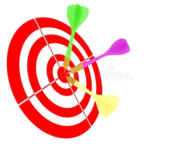 Pijltjes die in dartboard vallen vector illustratie