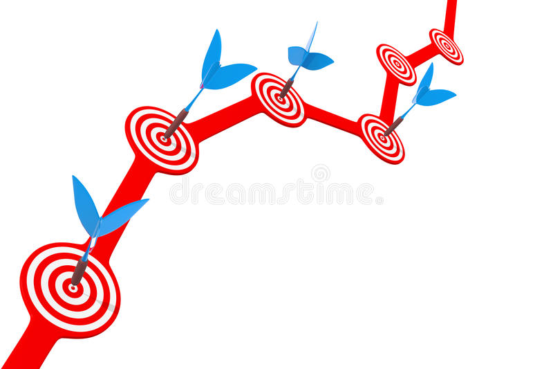 Pijltjes en een doel op het diagram vector illustratie