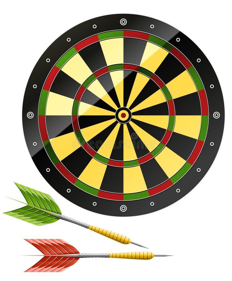 Pijltjes met dartboardspel vector illustratie