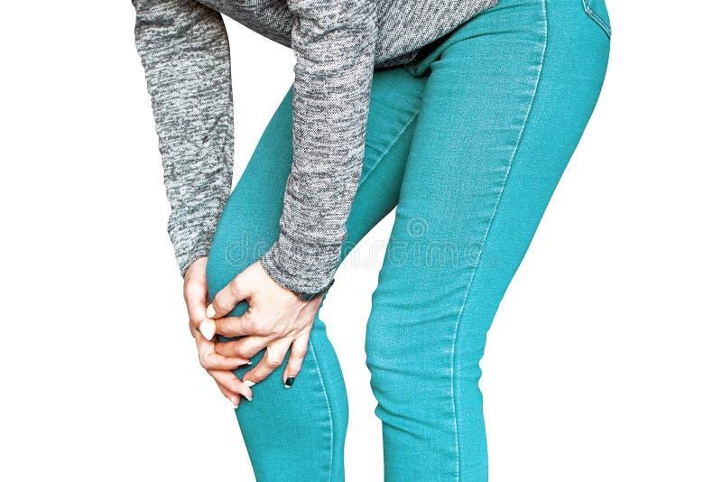 Pijn in de knieën van een vrouw Pijn in knie royalty-vrije stock foto's