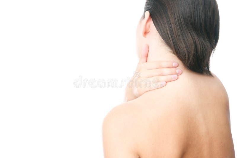 Pijn in hals van vrouwen stock afbeelding