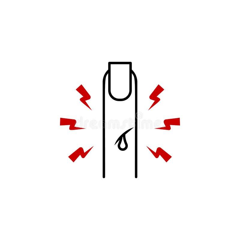 pijn in het vingerpictogram Element van menselijk lichaamspijn voor mobiele concept en Web apps illustratie Dun lijnpictogram voo vector illustratie