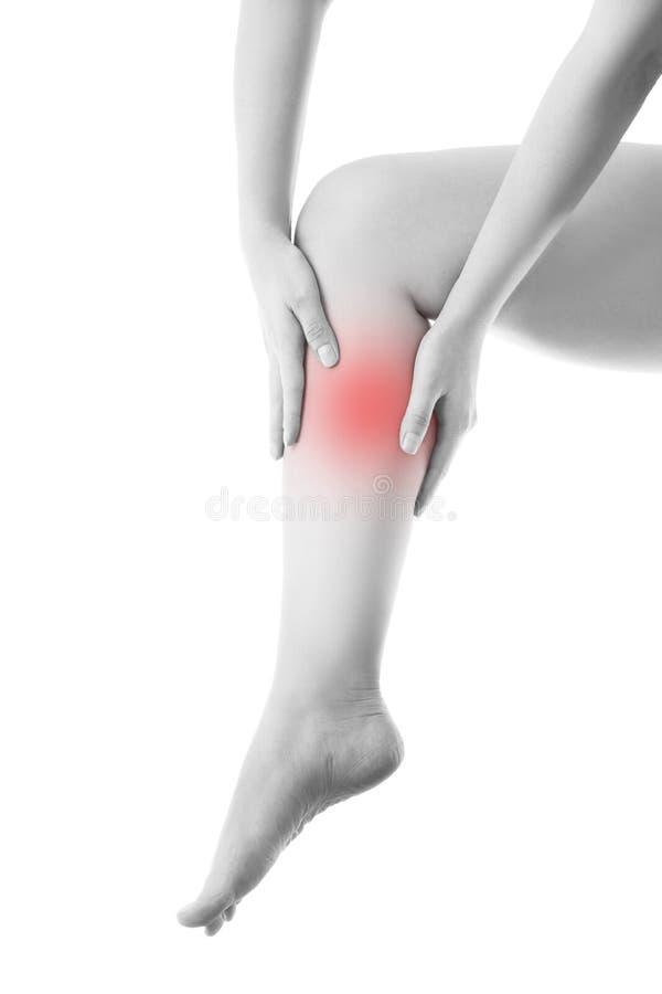 Pijn in het vrouwelijke been stock afbeelding