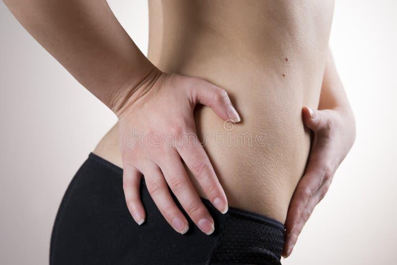 Pijn in het vrouwenlichaam Aanval van blindedarmontsteking stock afbeeldingen