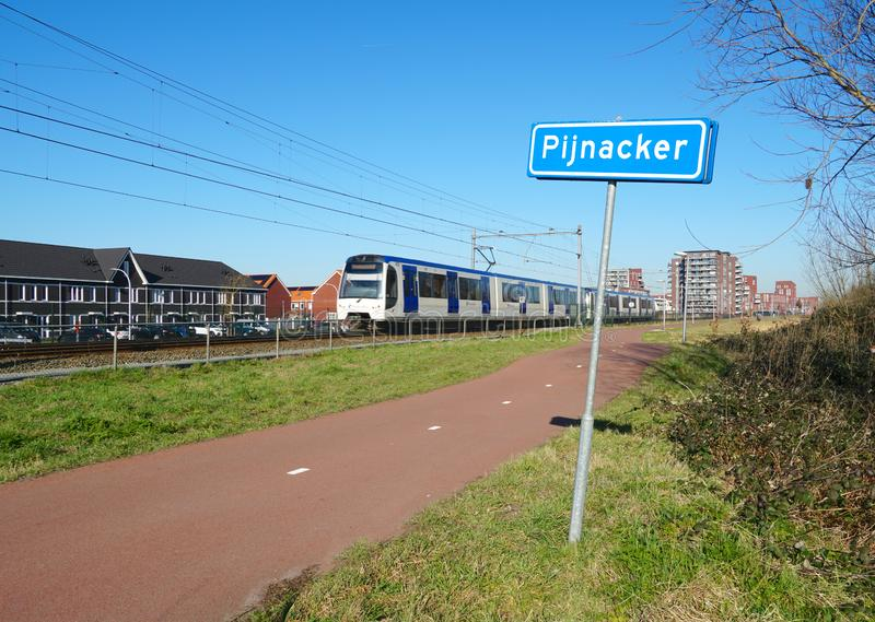Pijnacker, the Netherlands. February 2019. The randstadrail train near the village of Pijnacker, South Holland province, the Netherlands stock photography