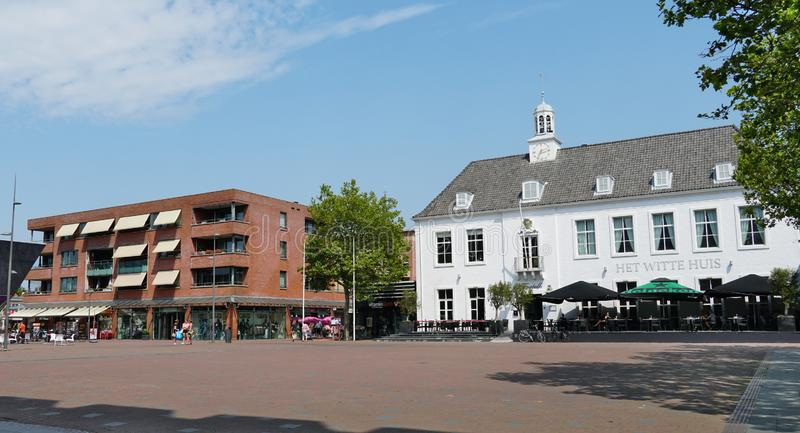 Pijnacker, the Netherlands. July 2019. Restaurant, shops and several appartments in the village center of Pijnacker royalty free stock photos