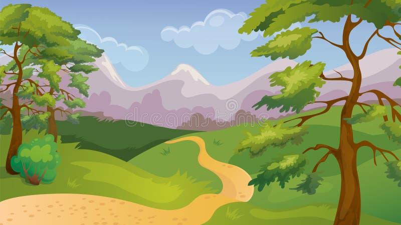 Pijnbomen Forest Game Background stock illustratie
