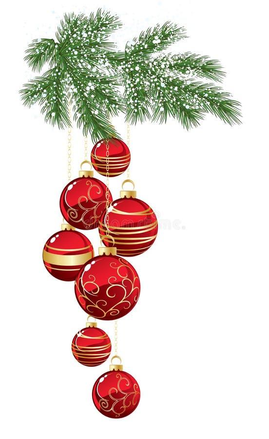 Pijnboom met rode Kerstmissnuisterij vector illustratie