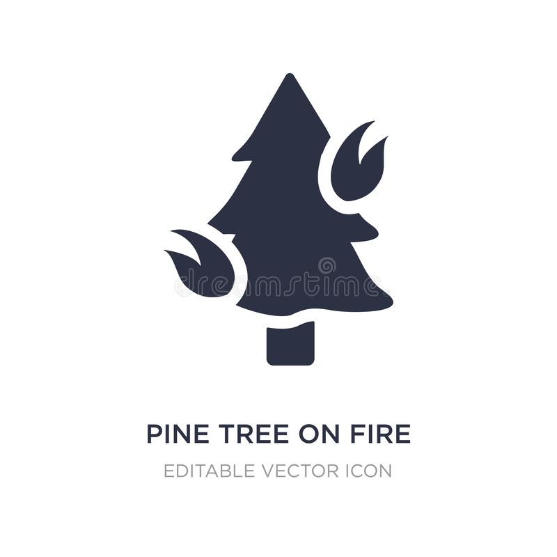pijnboomboom op brandpictogram op witte achtergrond Eenvoudige elementenillustratie van Aardconcept royalty-vrije illustratie