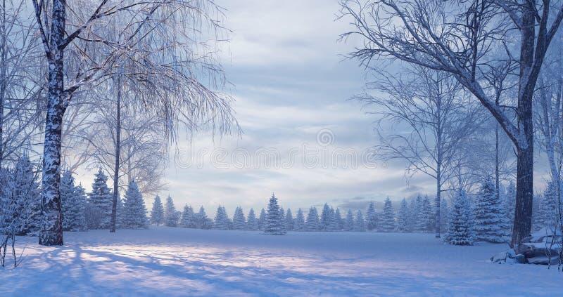 Pijnboombos in de mistige de winternacht stock foto