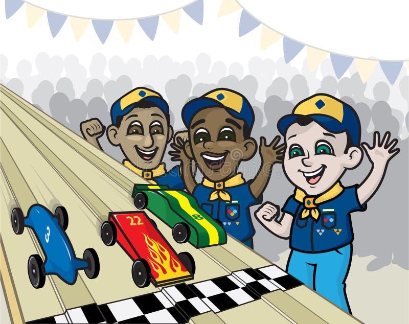 Pijnboomhout Derby Race stock illustratie