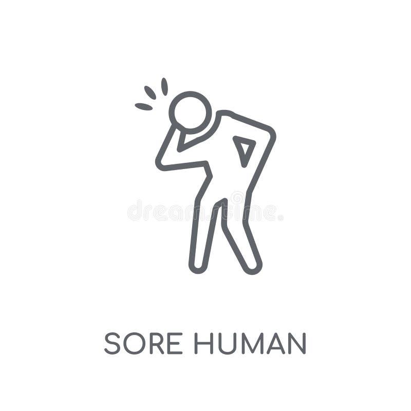 pijnlijk menselijk lineair pictogram Het moderne concept o van het overzichts pijnlijke menselijke embleem stock illustratie