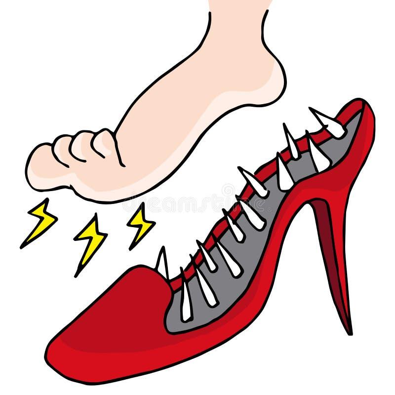 Pijnlijke schoenen stock illustratie