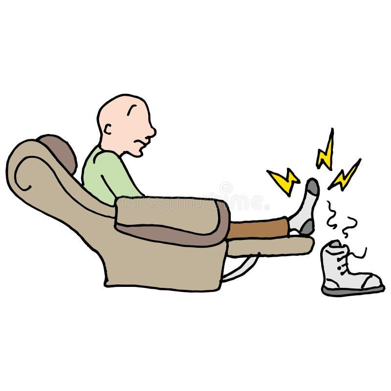 Pijnlijke vermoeide voetenmens vector illustratie