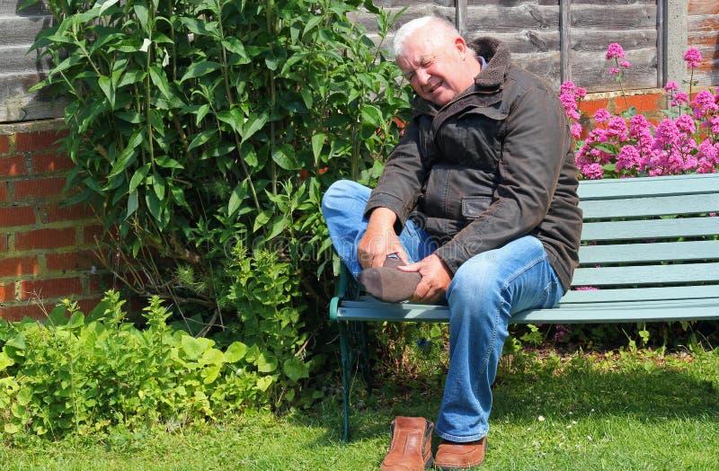 Pijnlijke voet, verwonding of artritis royalty-vrije stock afbeelding