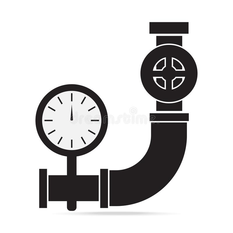 Pijp, klep en pand het tekenillustratie van het drukpictogram vector illustratie