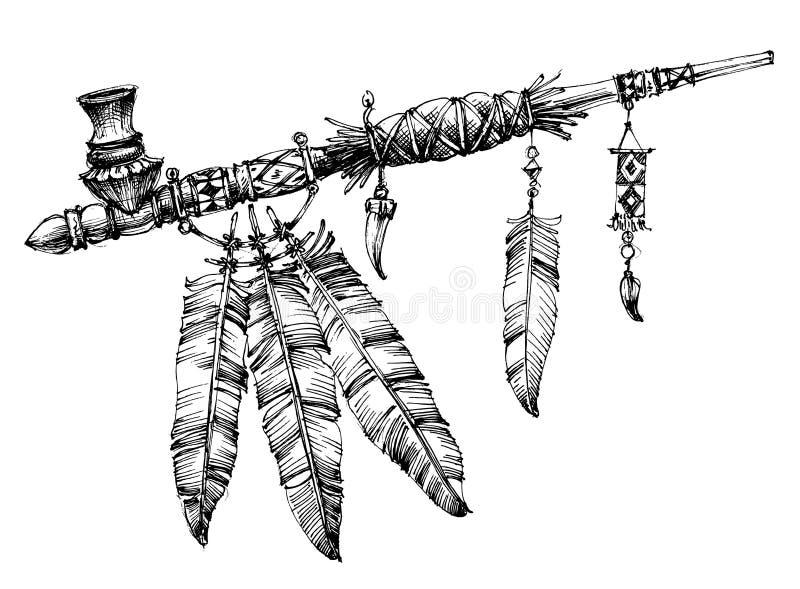 Pijp van vredestekening stock illustratie