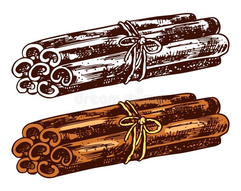 Pijpjes kaneel op transparante achtergrond worden geïsoleerd die Hand getrokken gegraveerde uitstekende schets voor etiketten Vec stock illustratie