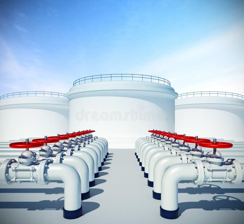 Pijpleiding met rode klep Brandstof of olie industriële opslag op rug vector illustratie