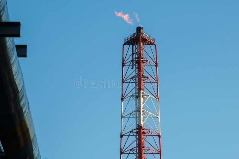 Pijpleidingen van Raffinaderijfabriek en isolatie bij industriezone royalty-vrije stock foto