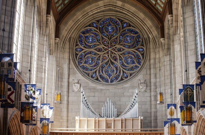Pijporgaan binnen kerk stock foto's