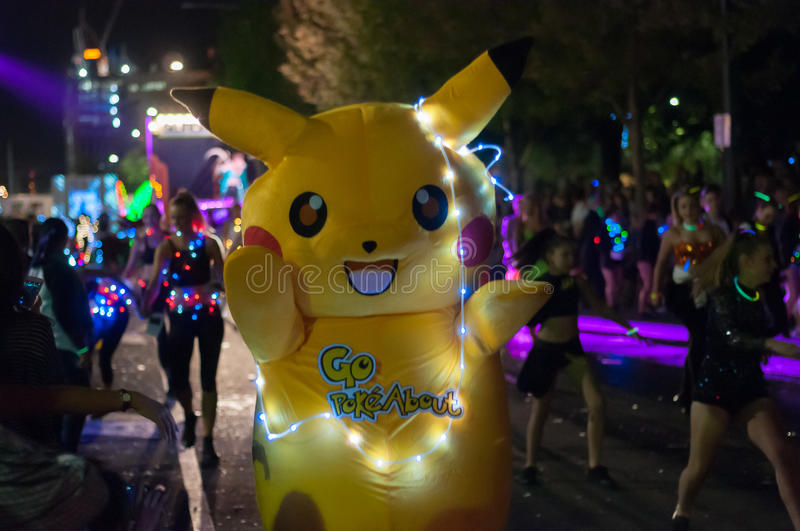 Pikachu - Adelaide Fringe 2017. ADELAIDE, AU - FEB 18, 2017: Over 80 floats and 1500 Fringe artists entertain crowds at the opening parade for the 2017 Adelaide royalty free stock photo