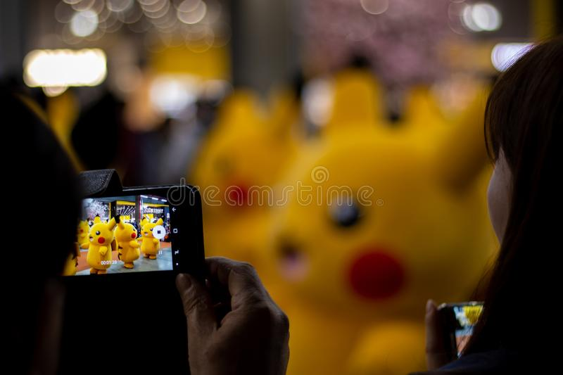 Pikachu Pokemon festival at Triple Street Mall and Hyundai Department Store royalty free stock photo