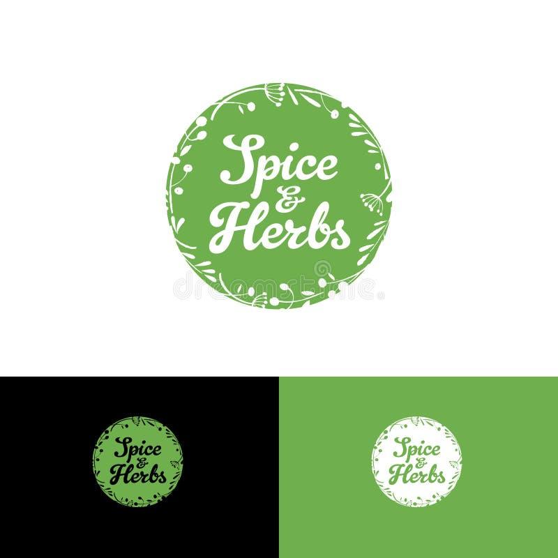 Pikantność i ziele logo Okrąża logo jak wianek ziele i pikantność Sklep spożywczy ilustracja wektor