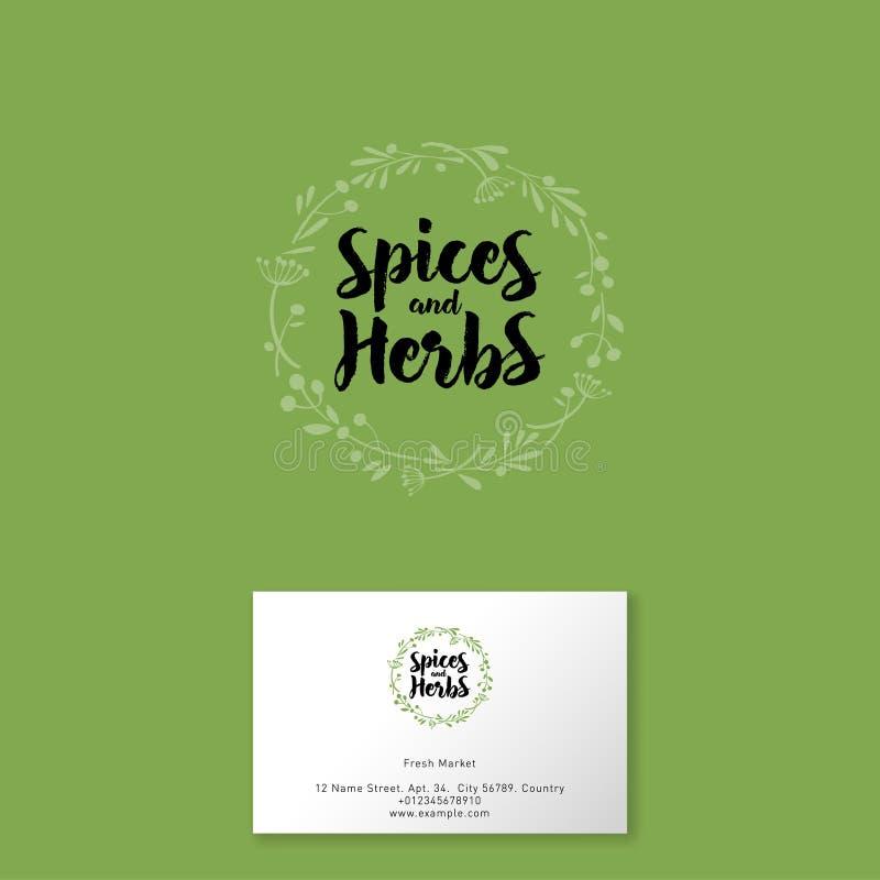 Pikantność i ziele logo Pociągany ręcznie ziele i pikantność lubią wianek Sklep spożywczy ilustracja wektor
