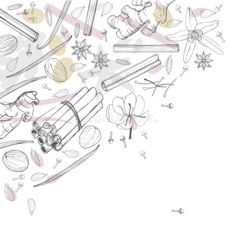 Pikantność dla deseru i piec, Wektorowy tło Ręka rysujący ske ilustracja wektor