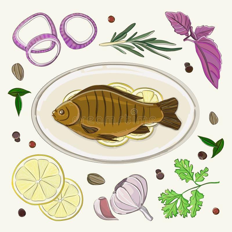 Pikantność dla gotować ryba ilustracji