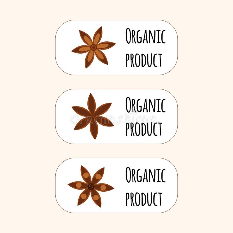 pikantność Gwiazdowy anyż Badian Set logo organicznie produkt ilustracji