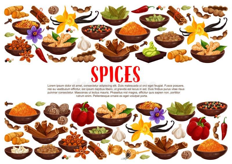Pikantność i condiments gotuje składniki plakatowych royalty ilustracja