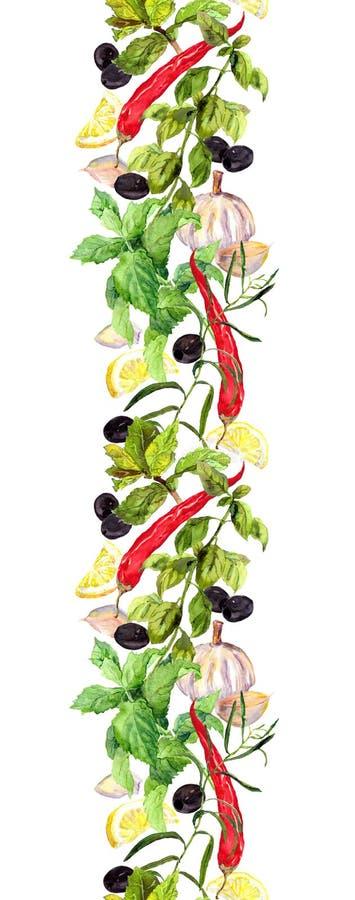 Pikantność i ziele, Bezszwowy kucharstwo wzór akwarela royalty ilustracja