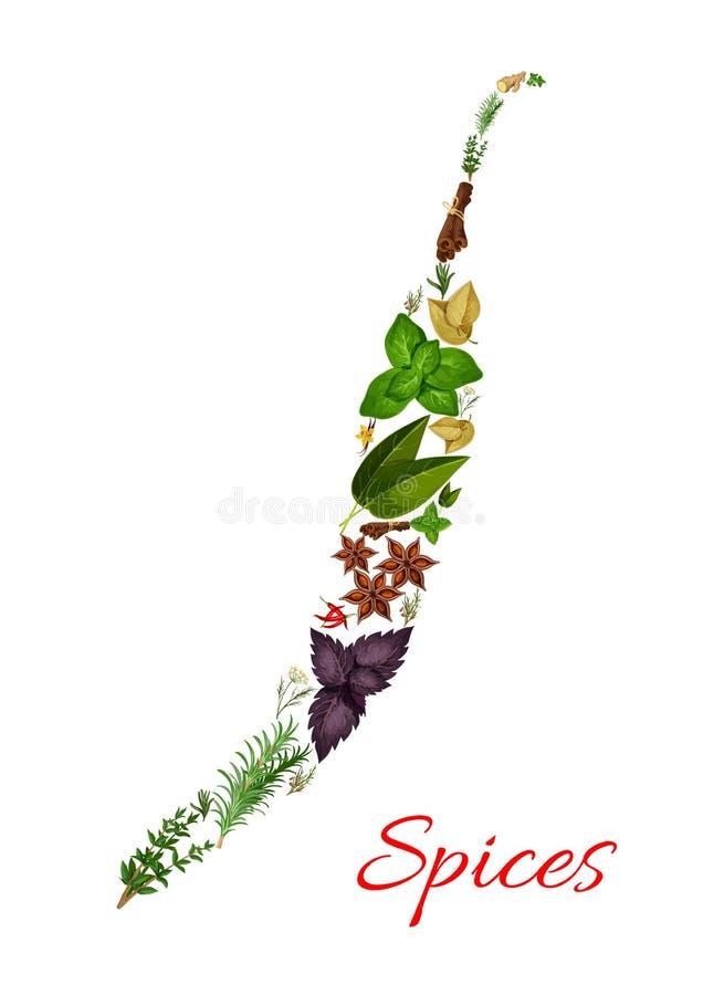Pikantność i ziele, chili pieprzu wektoru symbol ilustracji