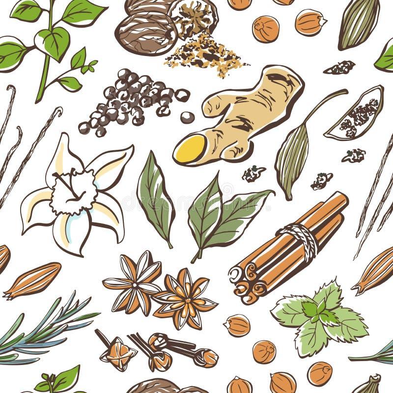 Pikantność i ziele wektorowy bezszwowy wzór royalty ilustracja