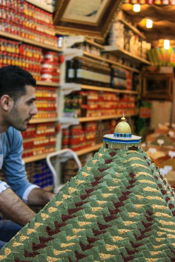 Pikantność sprzedawca, wschodnia jerozolima, Jerozolima, Palestyna, Izrael 17 04 zdjęcia stock