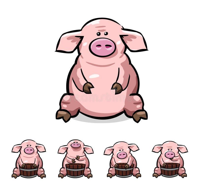 Pikap kreskówki świnie ustawiać royalty ilustracja