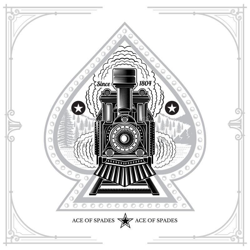 Pikass mit schwarzem Schattenbild der alten Lokomotive des Gesichtes mit Rauche auf wilder Landschaft Die Illustration gravieren  vektor abbildung