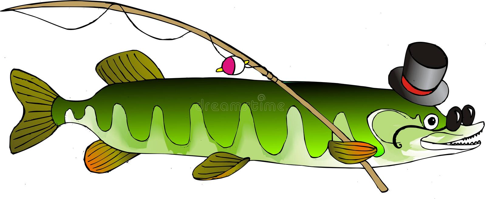 Pike. Erudite pike in hat and glasses is going to fish stock illustration