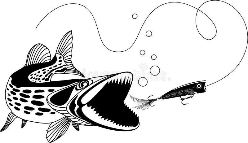 Pike et bouton-pression illustration stock