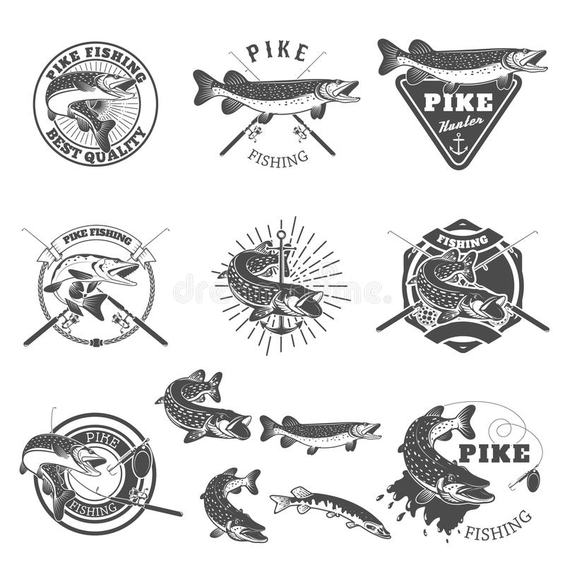 Pike fishing labels. vector illustration