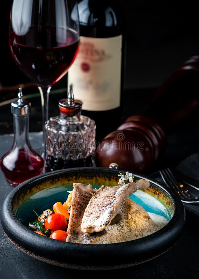 Pike perch fillet with vegetables stock photo